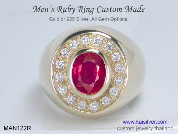 gold and silver ruby ring for men