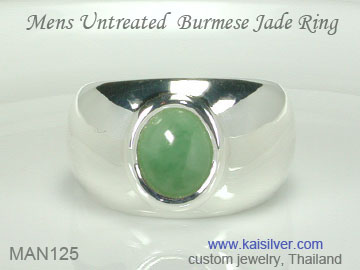men's green gem ring, jade