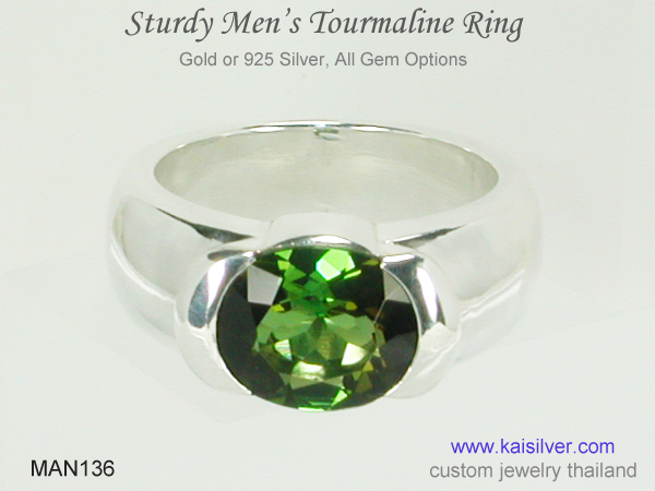 gold or silver tourmaline ring for men
