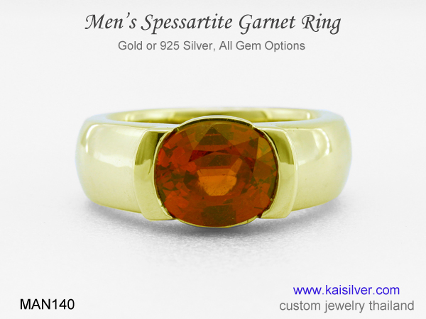 spessartite mens ring