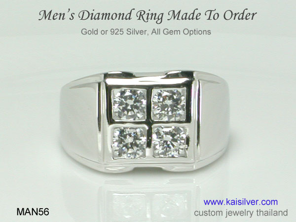 gold or silver men's diamond rings