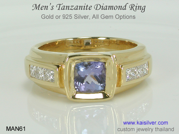tanzanite diamond ring for gents