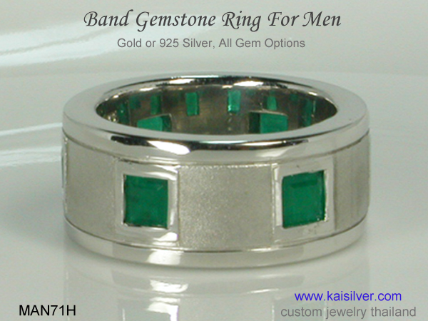 men's band ring emerald