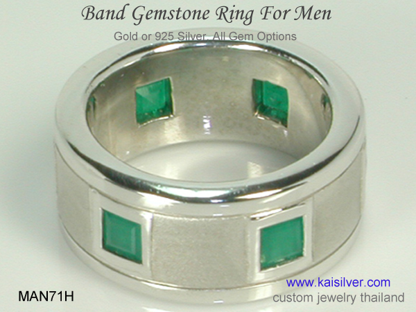 men's band ring custom made with gemstones