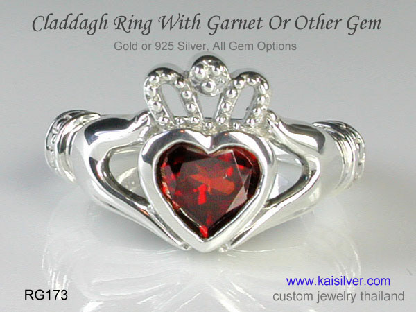 gold or sterling silver claddagh ring