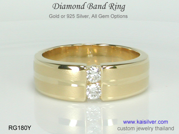 gold ring with diamond band