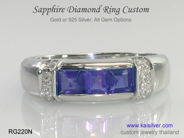 sapphire band ring gold or silver
