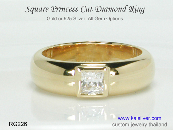 square diamond ring princess cut for men Kaisilver