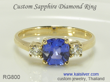 sapphire ring, with diamonds